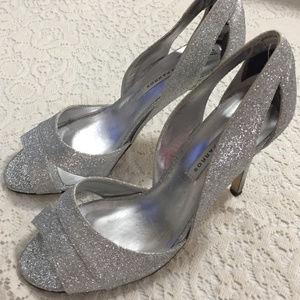 Glitzy Silver Peep Toe Stripper Heels Shoes